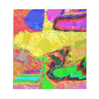 Psychedelic Yellow Blue Red Abstract Pattern Notepad