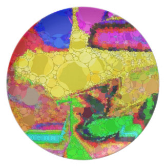 Psychedelic Yellow Blue Red Abstract Pattern Plate