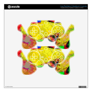 Psychedelic Yellow Blue Red Abstract Pattern PS3 Controller Decal