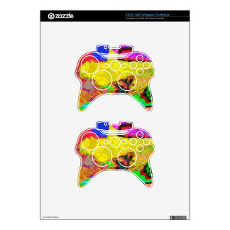 Psychedelic Yellow Blue Red Abstract Pattern Xbox 360 Controller Decal