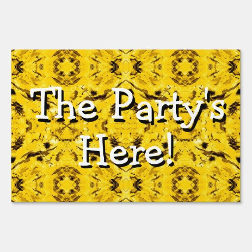 Psychedelic Yellow Party Yard Sign