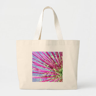 Psychedelic Yucca Abstract Red Large Tote Bag