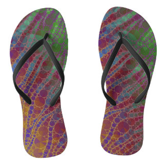 Psychedelic Zebra Abstract Pattern Flip Flops