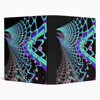 Psychedelic Zig Zag Spider Web Fractal 3 Ring Binder
