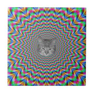 Psychedelic Zigzag Rings Cat Ceramic Tile