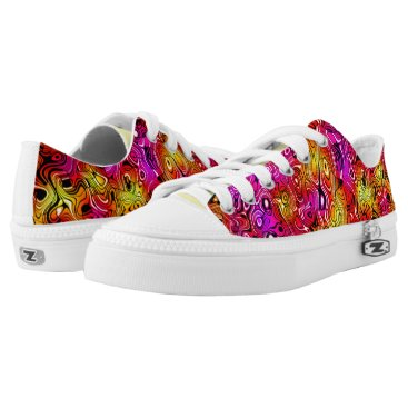 Beach Themed Psychedelicious Abstract Pattern Low Top Sneakers