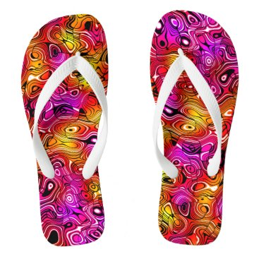Beach Themed Psychedelicious Flip Flops