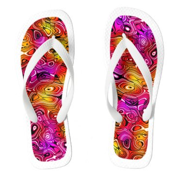 Beach Themed Psychedelicious White Trim Flip Flops