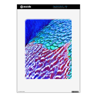 Psychedellic Blue Feathers Skins For iPad