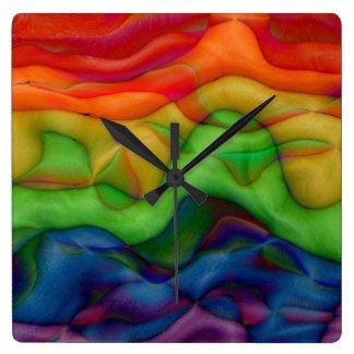 Psychedic Hippie Trip Rainbow Abstract Art Clocks