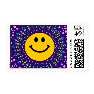 Psychedlic Happy Hippy Smiley Postage Stamps
