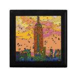 Psychedlic NYC: Empire State Building #1 Cajas De Regalo