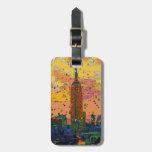 Psychedlic NYC: Empire State Building #1 Etiqueta De Maleta