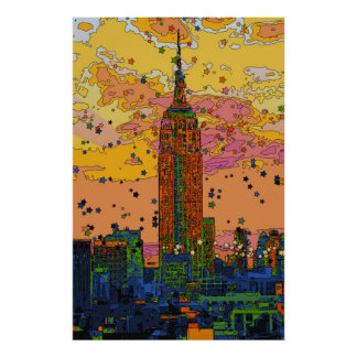 Psychedlic NYC: Empire State Building #1 Póster