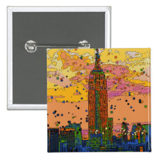 Psychedlic NYC: Empire State Building #1 Pin Cuadrada 5 Cm