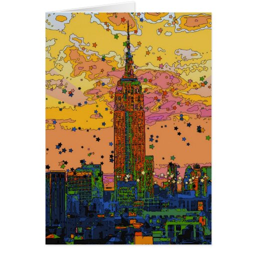 Psychedlic NYC: Empire State Building #1 Tarjetas