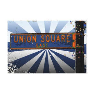 Psychedlic NYC: Union Square Street Sign A1 Canvas Print