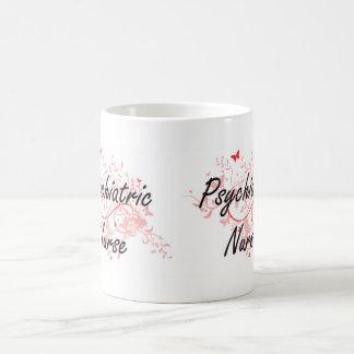 Psychiatric Nurse Artistic Job Design with Butterf Coffee Mug