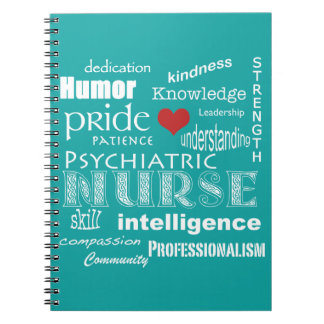 Psychiatric Nurse-Attributes/Aqua Blue Spiral Notebook