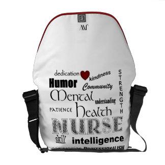Psychiatric Nurse-Attributes/Red Heart+Initials Messenger Bags