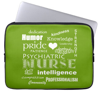Psychiatric Nurse Pride/Attributes-Celery Green Laptop Sleeve