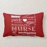 Psychiatric Nurse Pride-Attributes/Deep Red Pillow