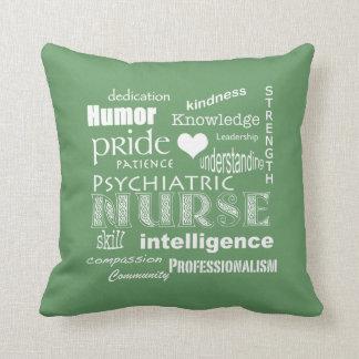 Psychiatric Nurse Pride Attributes-Green Throw Pillow