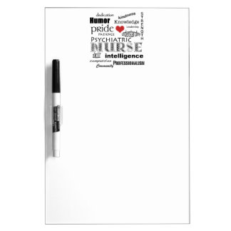 Psychiatric Nurse Pride-Attributes+Heart Dry Erase Board
