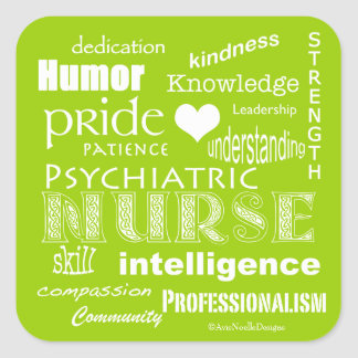 Psychiatric Nurse Pride Attributes-Lime Green Square Sticker