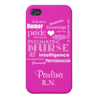 Psychiatric Nurse Pride Attributes+Name-Hot Pink iPhone 4 Cover