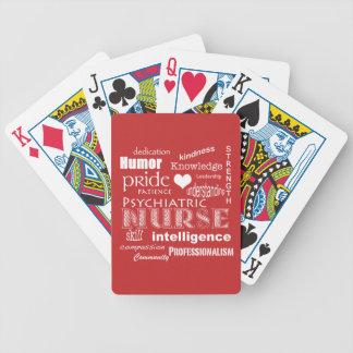 Psychiatric Nurse Pride-Attributes/Tomato Red Bicycle Card Decks