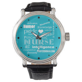 Psychiatric Nurse Pride-Attributes/White Heart Wrist Watch