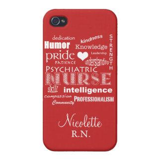 Psychiatric Nurse Pride-Personalize/Tomato Red iPhone 4 Cases