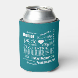 Psychiatric Nurse Pride-Text Design+White Heart Can Cooler