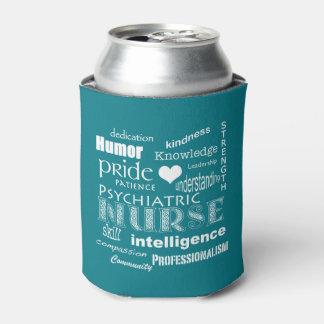 Psychiatric Nurse Pride-Text Design+White Heart Can Cooler