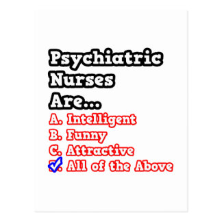 Psychiatric Nurse Quiz...Joke Postcard