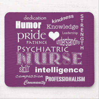 Psychiatric Nurse-Word Cloud/Deep Purple Mouse Pad