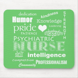Psychiatric Nurse-Word Cloud/Lime Green Mouse Pad