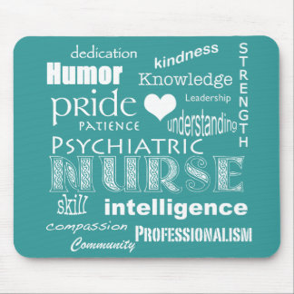 Psychiatric Nurse-Word Cloud/Teal Green Mouse Pad