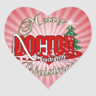 PSYCHIATRIST DOCTOR MERRY CHRISTMAS HEART STICKER