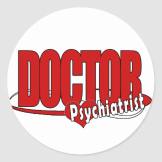 PSYCHIATRIST LOGO BIG RED DOCTOR CLASSIC ROUND STICKER