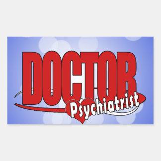 PSYCHIATRIST LOGO BIG RED DOCTOR RECTANGULAR STICKER