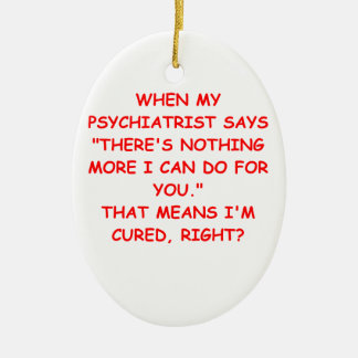 psychiatry Double-Sided oval ceramic christmas ornament