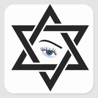 psychic eye within a star of David Square Sticker
