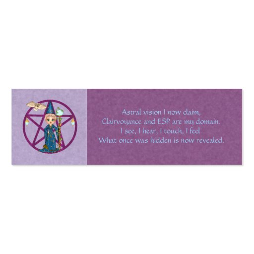 psychic powers spell card business card zazzle. Black Bedroom Furniture Sets. Home Design Ideas