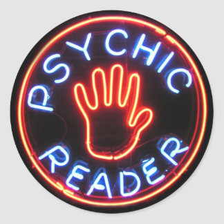Psychic Reader Neon Sign Classic Round Sticker