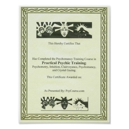 Psychic Training Certificate Poster
