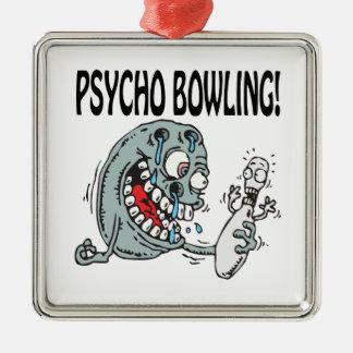 Psycho Bowling Square Metal Christmas Ornament