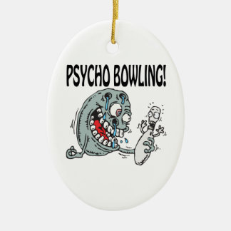 Psycho Bowling Double-Sided Oval Ceramic Christmas Ornament