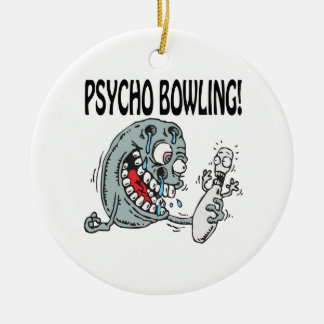 Psycho Bowling Double-Sided Ceramic Round Christmas Ornament